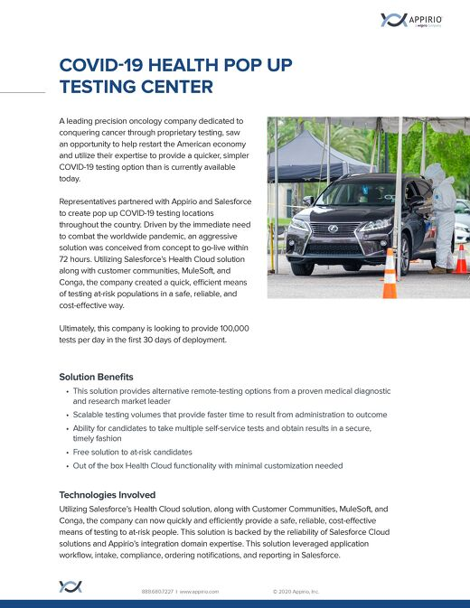 COVID-19 Health Pop Up Testing Center One-Pager