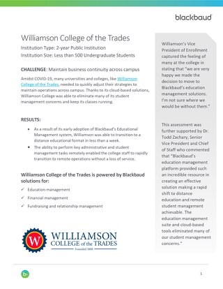 Williamson College of the Trades eliminated student management concerns and kept classes running.