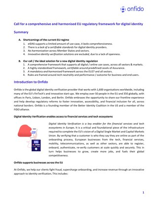 Call for a comprehensive and harmonised EU regulatory framework for digital identity