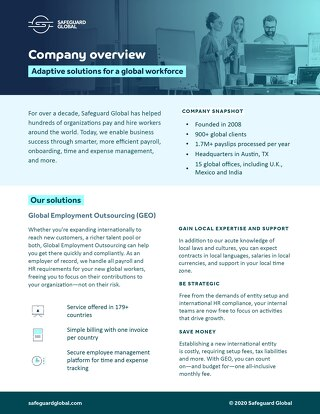 Safeguard Global Company Overview