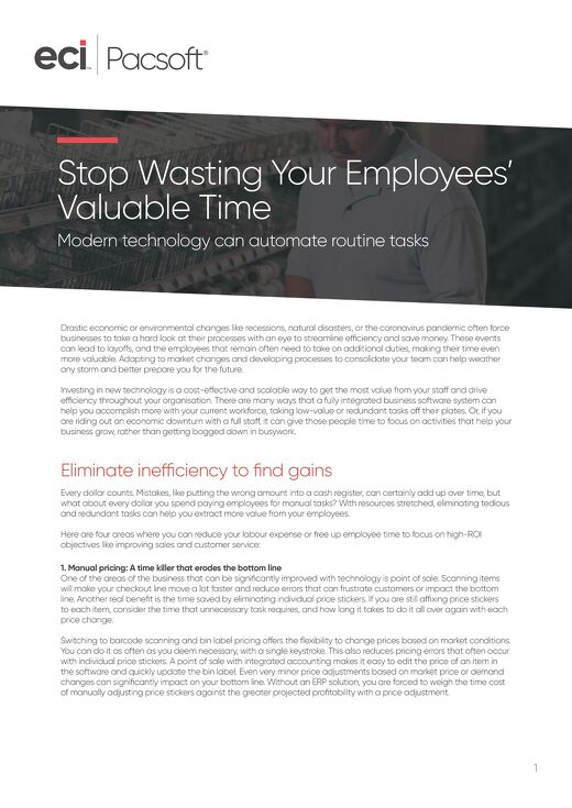 Pacsoft. How to get the most out of employee time. Whitepaper