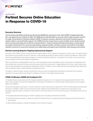 Fortinet Secures Online Education in Response to COVID-19