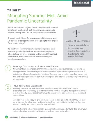 Tip Sheet: 5 Tips to Mitigate Summer Melt Amid COVID-19