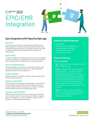 PaperCut Epic-EMR Integration PC 20