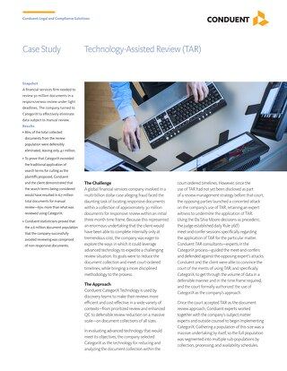 Technology Assisted Review for a Financial Services Firm
