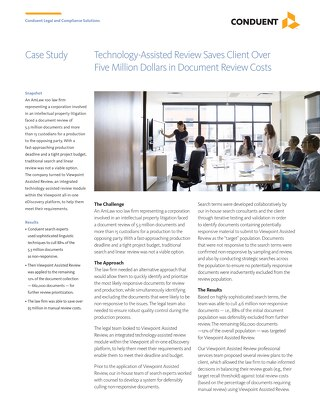 Technology-Assisted Review Saves Client Over Five Million Dollars in Document Review Costs