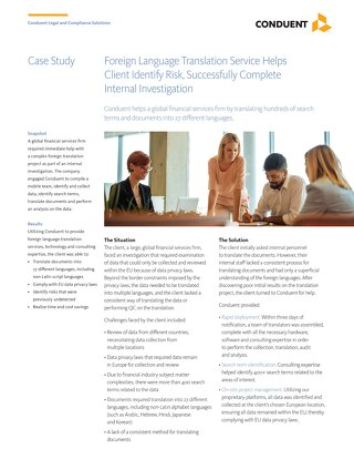 Foreign Language Translation Service Helps Client Identify Risk, Successfully Complete Internal Investigation_UK