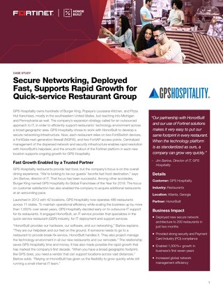 Secure Networking, Deployed Fast, Supports Rapid Growth for Quick-service Restaurant Group
