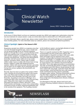 Pharmacy Benefit Management solutions Clinical Watch Newsletter January 2020