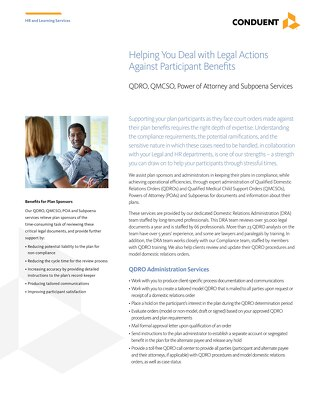 Helping You Deal with Legal Actions Against Participant Benefits