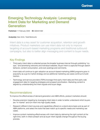 Gartner Emerging Technology Analysis: Leveraging Intent Data for Marketing and Demand Generation