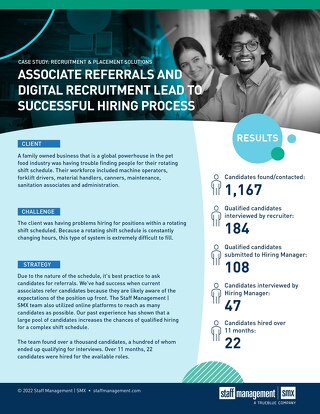 [Manufacturing] Associate Referrals and Digital Recruitment Lead to Successful Hiring Process Case Study