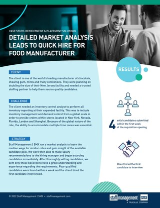 [Manufacturing] Detailed Market Analysis Leads to Quick Hire for Food Manufacturer Case Study