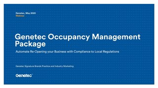 Genetec Occupancy Management Package webinar presentation