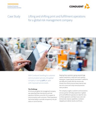 Case Study: Lifting and shifting print and fulfillment operations for a global risk management company saving them $2M a year