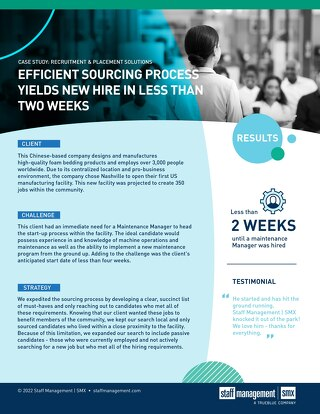 [Manufacturing] Efficient Sourcing Process Yields New Hire in Less Than Two Weeks Case Study