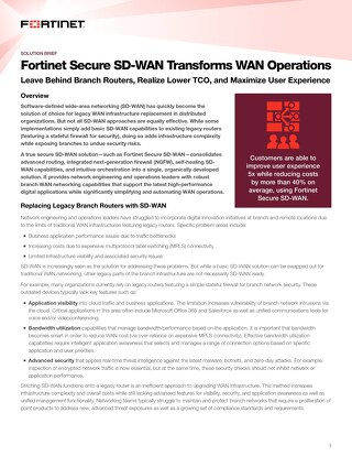 Fortinet Secure SD-WAN Transforms WAN Operations