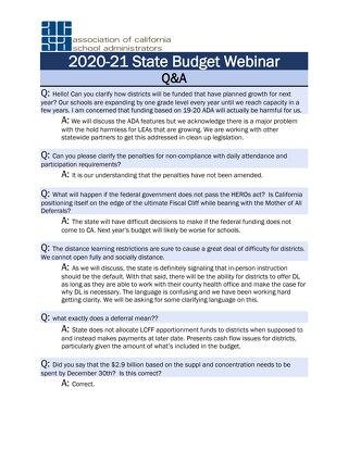 2020-21 State Budget Webinar Q&A