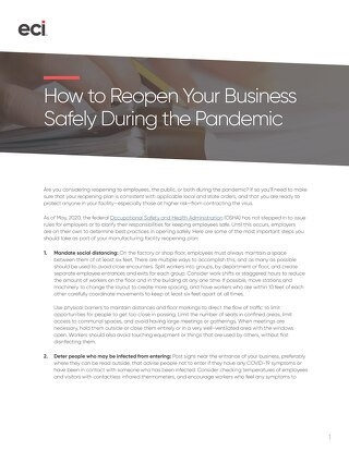 How to Reopen Your Business Safely During the Pandemic