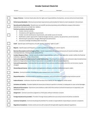 Vendor Contracts Checklist v4.1 - Fillable