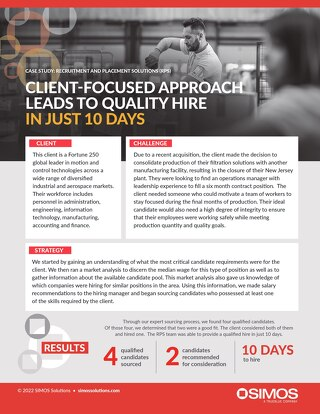 [Manufacturing] Client-Focused Approach Leads to Quality Hire Case Study