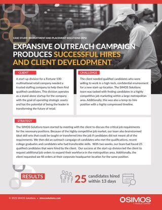 [Distribution] Expansive Outreach Campaign Produces Successful Hires and Client Development Case Study