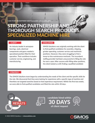 [Manufacturing] Strong Partnership and Thorough Search Produces Specialized Machine Hire Case Study