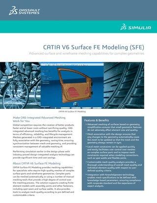 Catia Surface Fe Modeling Datasheet