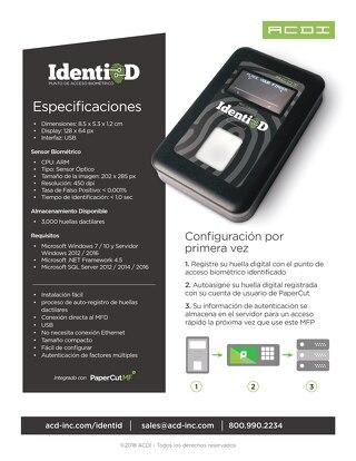 Especificaciones de IdentiD