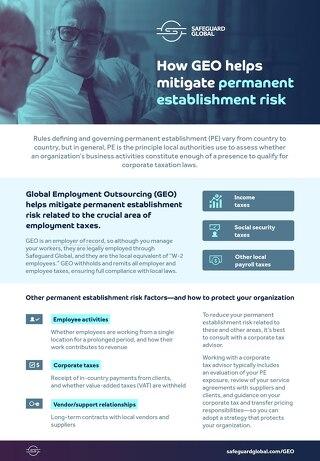 How GEO helps mitigate permanent establishment risk