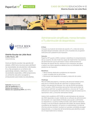 PaperCut Case Study - Little Rock School District - Esp