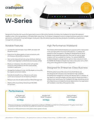 W-Series Data Sheet