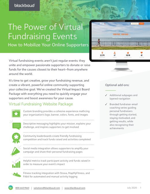 Virtual Fundraising Events Datasheet