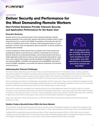 Deliver Security and Performance for the Most Demanding Remote Workers