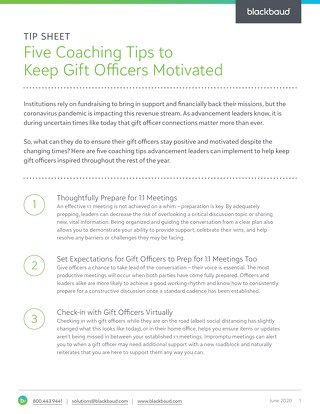 Tip Sheet: Five Coaching Tips to Keep Gift Officers Motivated