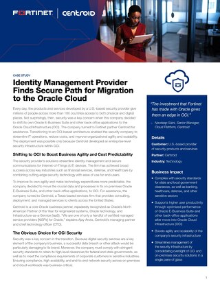 Identity Management Provider Finds Secure Path for Migration to the Oracle Cloud
