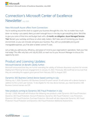 Connection's Microsoft Center of Excellence Newsletter-July 2020