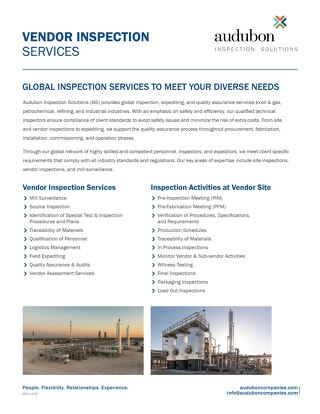 Vendor Inspection Services