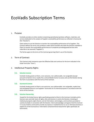 EcoVadis Subscription Terms