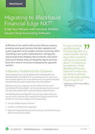 Financial Edge NXT Datasheet - Why Move to NXT