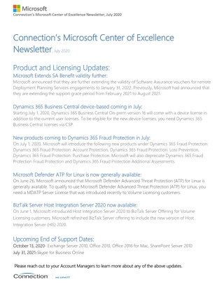 Connection's Microsoft Center of Excellence Newsletter-July 2020_rev