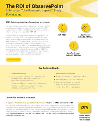 The ROI of ObservePoint: A Summary of Forrester's Total Economic Impact™ Study