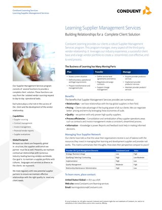 Learning Supplier Management Services