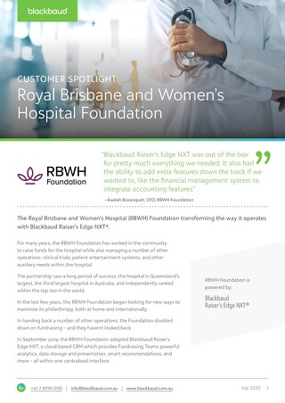 Customer Spotlight: RBWH Foundation