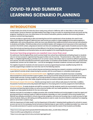 COVID-19 and Summer Learning Scenario Planning