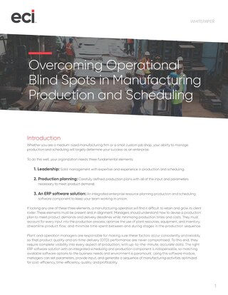 Blind Spots in Production and Scheduling