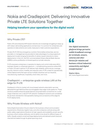 Nokia Cradlepoint Joint Solution Brief