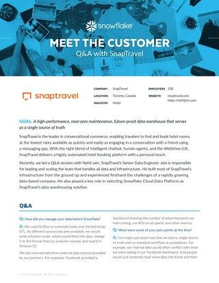SnapTravel: Meet the Customer Q&A