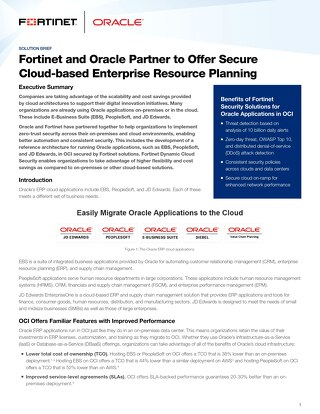 Fortinet and Oracle Partner to Offer Secure Cloud-based Enterprise Resource Planning