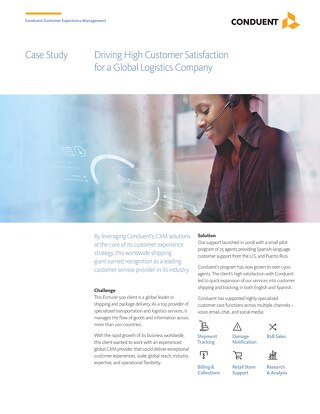 Case Study: Driving High Customer Satisfaction for a Global Logistics Company
